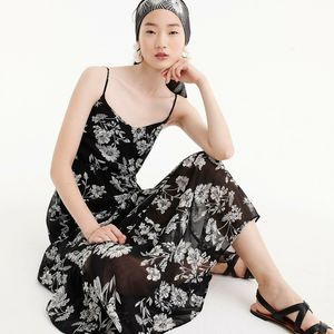 J.Crew Tiered Maxi Dress In Daisy Floral Black